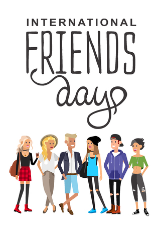 Group of happy friends with Friends day title. Cartoon hand drawn illustration Stock Illustratie