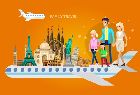High quality, detailed most famous World landmarks characters family travel by plane