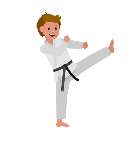 aikido: Cute vector character child. Illustration for martial art poster. Kid wearing kimono and karate training Illustration