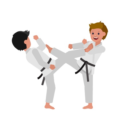 Cute vector character child. Illustration for martial art poster. Kid wearing kimono and karate training Illustration