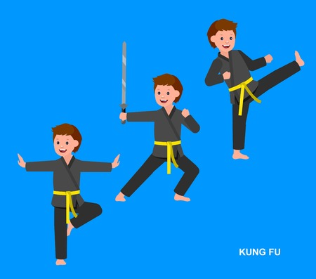 Cute vector character child. Illustration for martial. Kid wearing kimono and training kung fu.