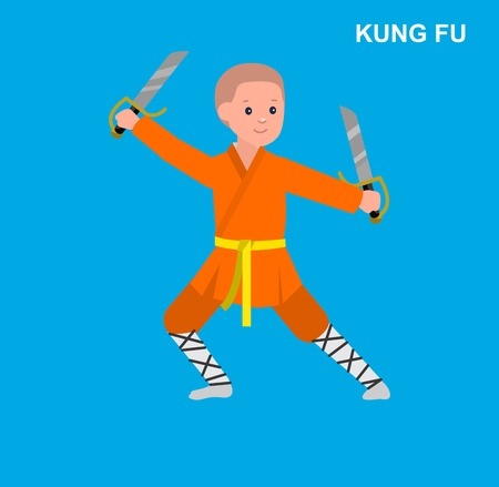 aikido: Cute vector character kid Shaolin monk. Illustration for martial art kung fu poster