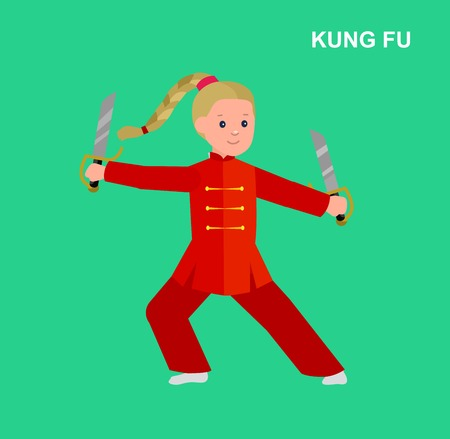 kung fu: Cute vector character child. Illustration for martial. Kid wearing kimono and training kung fu.