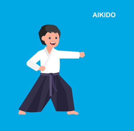 martial art: Cute vector character child. Illustration for martial art. Kid wearing kimono and training aikido Illustration