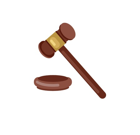 Wooden gavel judge icon isolated on white background