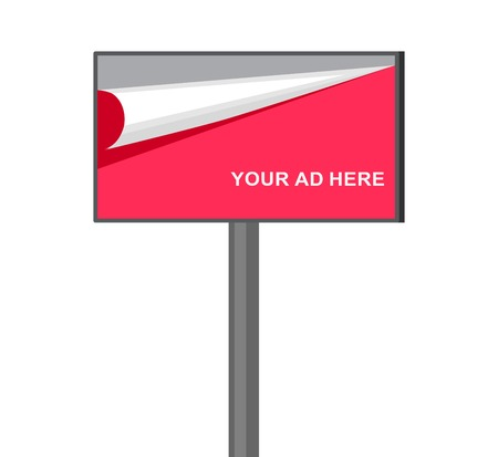 outdoor advertising: Flat billboard illustration for outdoor advertising isolated on white background