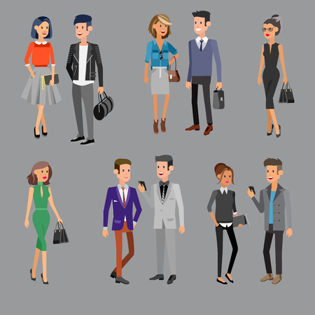 colleagues: Vector detailed characters people, business people men and women in action, shake hands, with a briefcase, secretary, big boss, startup man, colleagues, business lifestyle