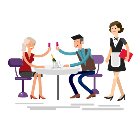 socialize: Vector detailed character people in the restaurant, service for public and personnel, couple celebrating in restaurant Illustration