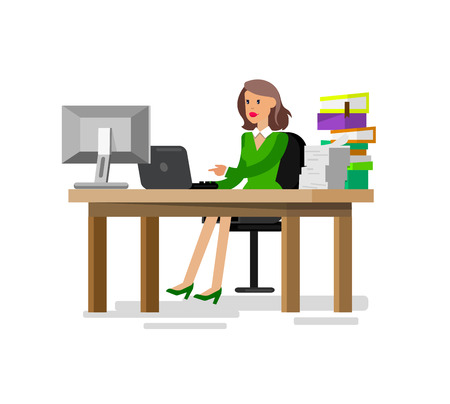 woman behind: Vector detailed character corporate business women sitting behind desk. Office worker Illustration