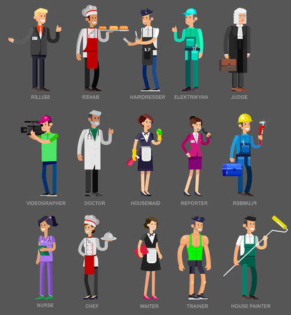 character of people: Profession people. Detailed character professionals. Vector flat Illustration