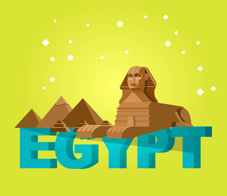 grave stone: High quality, detailed most famous World landmark. Sphinx and pyramids background Illustration