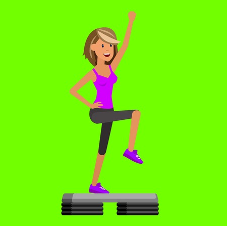 step fitness: Vector detailed character Fit woman and step fitness workout. Happy and sporty girl