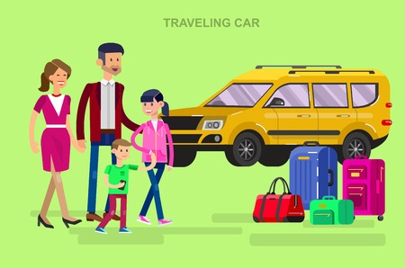 family holiday: Vector detailed character people. Family summer holiday travel on car