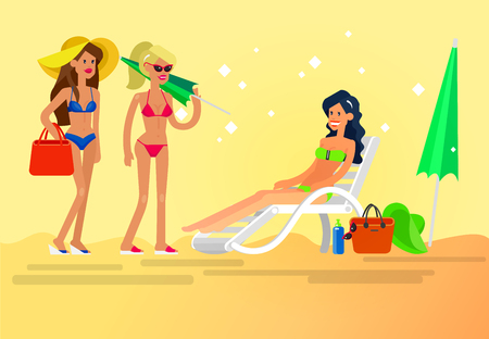 sunbathe: Vector detailed character Hot beautiful girl in bikini lying on a sun lounger and sunbathe on a summer beach, girlfriends go on summer vacation