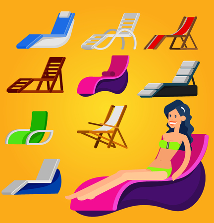 Beach chaise longue in different design. Hot beautiful girl in bikini on a summer beach