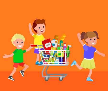 kid shopping: Concept illustration for Shop, supermarket. Vector character kid playing together, riding shopping cart. Healthy eating and eco food