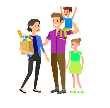 Concept illustration for Shop. Vector character family with food from the supermarket. Healthy eating and eco food