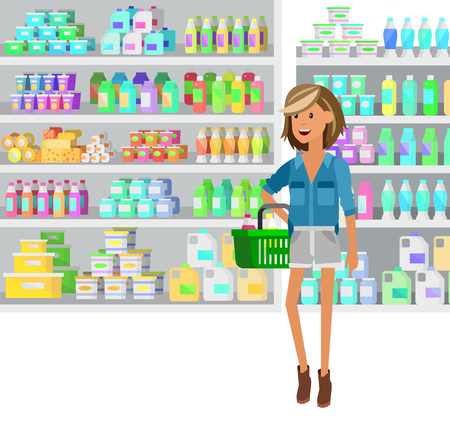 chooses: Concept illustration for Shop, supermarket. Vector character woman chooses products in supermarket. Healthy eating and eco food