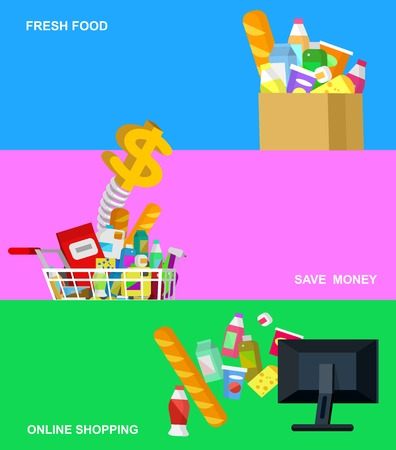 Concept banner for Shop. Vector character people in supermarket, cart, delivery, family shopping. Healthy eating and eco food Vectores