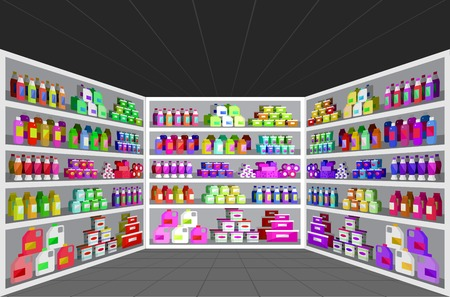 supermarket shopper: Concept illustration for Shop. Vector supermarket shelves. Healthy eating and eco food