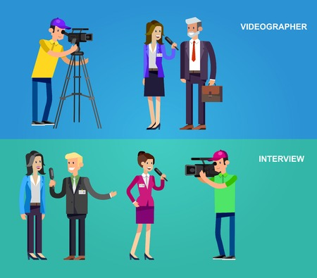 interviewer: Mass media design concept set with journalists preparing news materials operators working with camera and interviewer, vector illustration Illustration