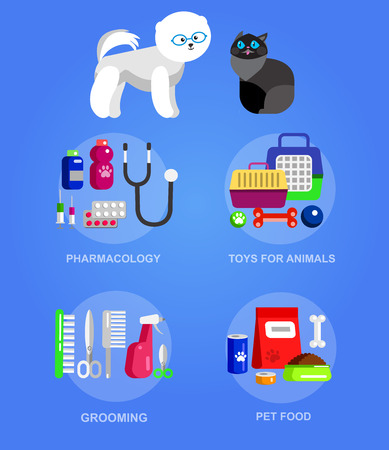 grooming: High quality veterinary object and icons set for pet shop. Pets accessories and vet store, grooming tools, veterinary pharmacy