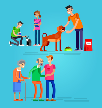 Vector detailed character Volunteer design concept with woman and a man helping elderly people, veterinary care for homeless animals, feed dog and cat Illustration