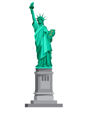 High quality, detailed most famous World landmark. Statue of Liberty. USA. Travel vector