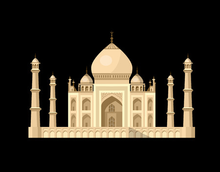 High quality, detailed most famous World landmark. Vector illustration of Taj Mahal an ancient Palace in India. Travel vector Illustration