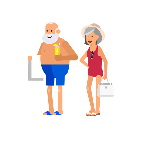 Character senior, senior age travelers. Old age retired tourists couple, senior in swimsuits go on beach