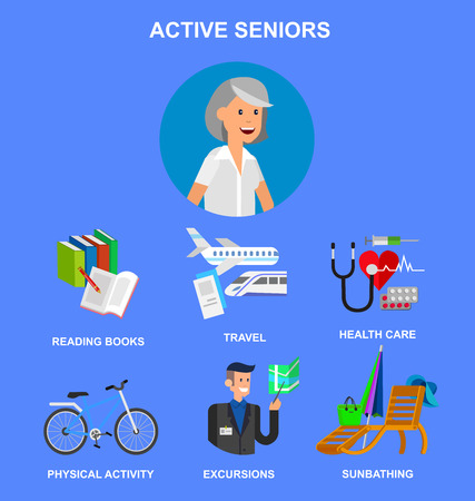retired: vector detailed character senior, age woman and icons. Pension hobbies and interests leisure of pensioner