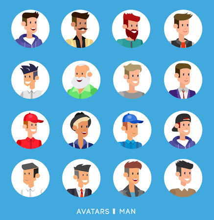 teen boy: Cute cartoon human avatars set, big male faces collection. Vector detailed characters business people