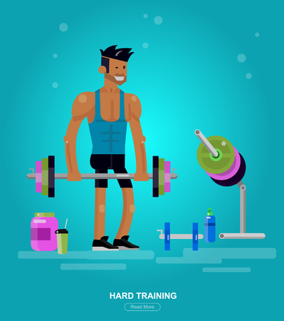 Gym design concept with Vector detailed character men  bodybuilder in hard workout. Cool flat  illustration