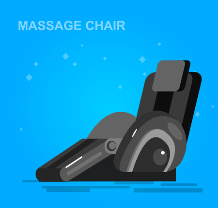 Vector detailed massage chair, massager for relax, cool flat  illustration