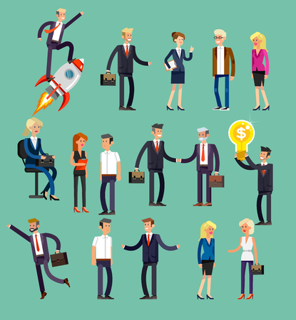shake hands: Vector detailed characters, men and women in action. Business people shake hands, with a briefcase, secretary, big boss, startup man, colleagues Illustration