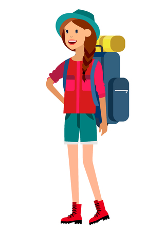 camper: woman character tourist. Hiking and camping. Vector flat illustration Illustration