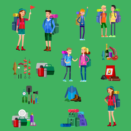 counselor: vector illustration of summer camp. Vector characters counselor and children. Camping banner and icon Illustration