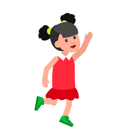 kindergarden: Cute vector character child in action. Cheerful active child run and jump. Happy kid