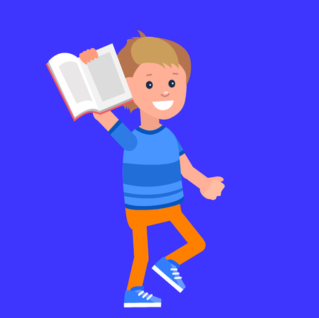 day dreaming: Cute vector character boy. Happy kid illustration reading book. Education and child development. Banner for the kindergarten or children club Illustration
