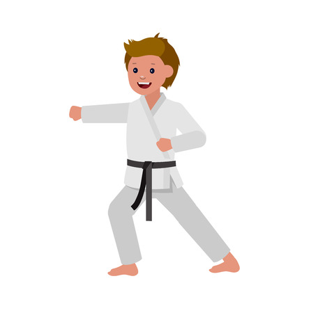martial art: Cute vector character child. Illustration for martial art poster. Kid wearing kimono and karate training Illustration