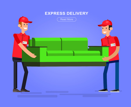 movers: Funny character man movers carry sofa. Delivery fast to the door and by courier Illustration