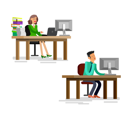 team from behind: Vector detailed character corporate business team people sitting behind desk. Office worker, Men and women