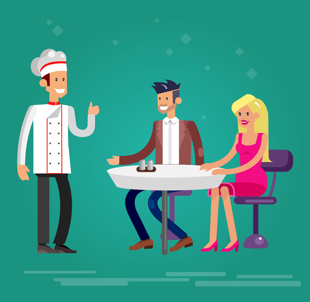 guests: Vector detailed character people in the restaurant, canteen, catering service for public and personnel, waiter and Chef serves guests