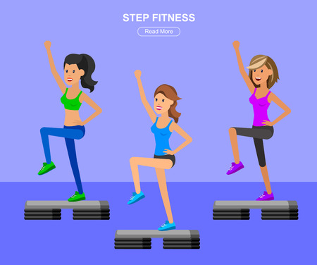 sporty: Vector detailed character Fit woman and step fitness workout. Happy and sporty girl