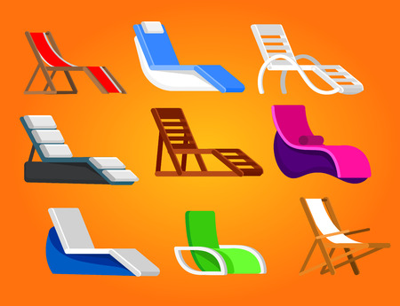 longue: Set of beach chaise longue in different design. Retro Vector illustration
