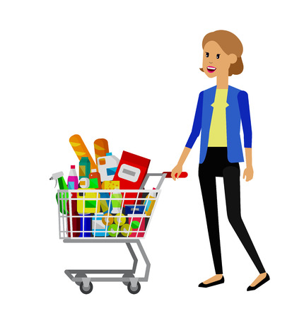 supermarket cart: Concept illustration for Shop. Vector character woman with supermarket cart. Healthy eating and eco food