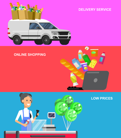 satisfied customer: Concept banner for Shop. Vector character people in supermarket, cart, delivery, family shopping. Healthy eating and eco food Illustration