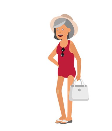 third age: Character senior traveler. Old women retired tourist senior having summer vacation, senior in swimsuits go on beach.