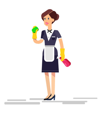 housekeeper: Poster design for cleaning service and supplies. Vector detailed character professional housekeeper Illustration