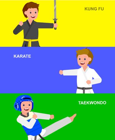 Cute vector character child. Illustration for martial art taekwondo, karate, kung fu. Kid wearing kimono and training Illustration